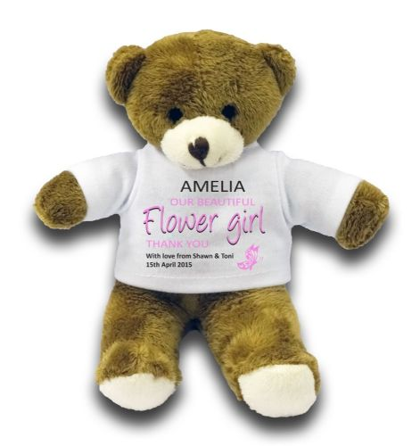 "Personalised Flower Girl Wedding Party Favour Gift 7"" Teddy Bear"